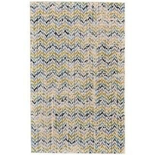 "Grand Bazaar Aileen Green/ Cream Wool Rug - 5'2"" x 8'"