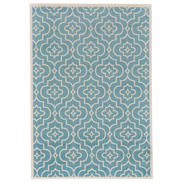 """Grand Bazaar Burley Cotton/ Aqua Wool Rug (5'-3 X 7'-6) - 5'3"""" x 7'6"""""""