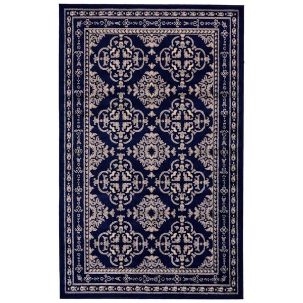 "Grand Bazaar Aileen Gray/ Navy Wool Rug - 5'2"" x 8'"