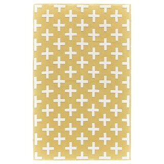 Grand Bazaar Aubrey Yellow/ White Wool Rug - 5' x 8'