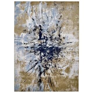 "Grand Bazaar Crowford Gold/ Blue Wool Rug - 10'4"" x 13'6"""