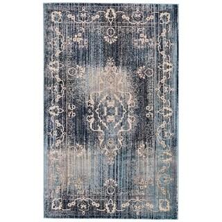 """Grand Bazaar Aileen Cream/ Aqua Wool Rug - 5'2"""" x 8'"""