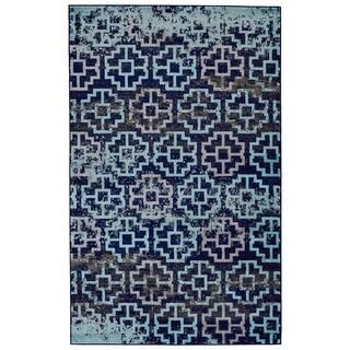 """Grand Bazaar Aileen Aqua/ Navy Wool Rug - 5'2"""" x 8'"""