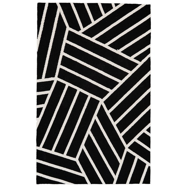 Shop Grand Bazaar Aubrey Black White Wool Rug 8 X 10 Free