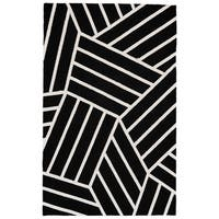 Grand Bazaar Aubrey Black/ White Wool Rug - 8' x 10'