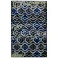 "Grand Bazaar Aileen Green/ Navy Wool Rug - 5'2"" x 8'"