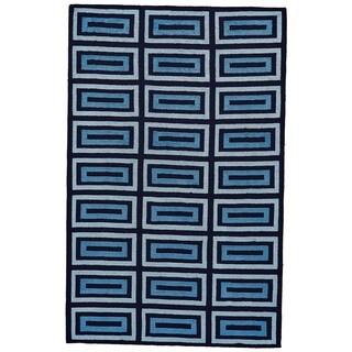 Grand Bazaar Aubrey Gray/ Black Wool Rug - 5' x 8'