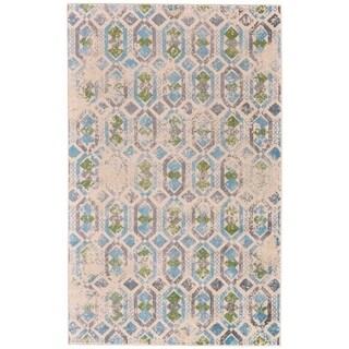 Grand Bazaar Aileen Aqua/ Cream Wool Rug - 8' x 10'