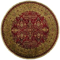 Grand Bazaar Bower Red/Light Goldtone Wool Round Rug - 8' x 8'