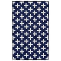 Grand Bazaar Aubrey Navy/ White Wool Rug - 5' x 8'