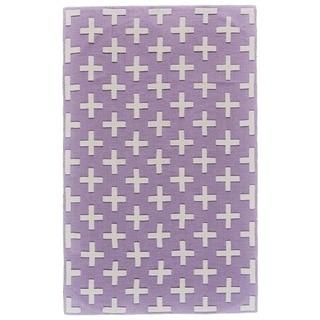 Grand Bazaar Aubrey Lavender/ White Wool Rug - 5' x 8'