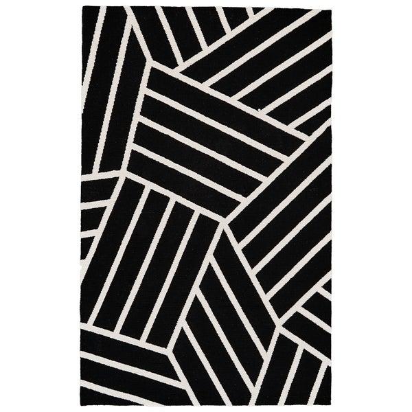 Grand Bazaar Aubrey Black/ White Wool Rug - 5' x 8'