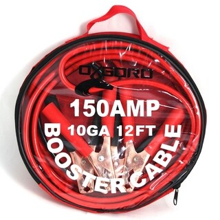 OxGord 10 Gauge 12 foot 150 Amp Heavy Duty Jumper Cables for Emergency Use