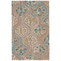 Grand Bazaar Amreli Evergreen/Beige Wool Area Rug - 7'9 x 9'9