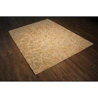 "Leather Hair-on Hide Rug In Multi Beige Felt Backing - 7'6"" x 9'6"""