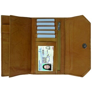 AFONiE Thin And Classic Genuine Leather Women's Wallet (Option: Tan)