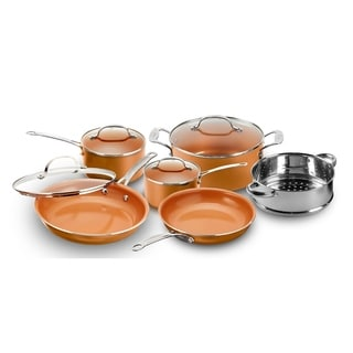 Gotham Steel 10-Piece Nonstick Kitchen Cookware Set- Copper Round
