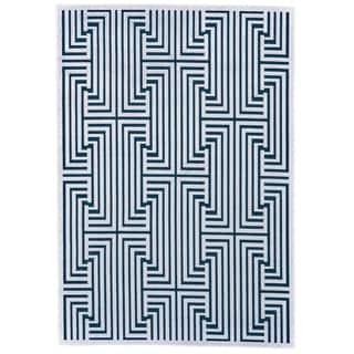 "Grand Bazaar Soho Lyra White/ Teal Wool Rug - 7'6"" x 10'6"""