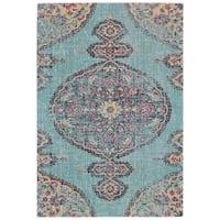 Grand Bazaar Tosca Aqua/ Multi Wool Rug - 8' x 11'