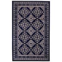 Grand Bazaar Aileen Gray/ Navy Wool Rug (8' X 10') - 8' x 10'
