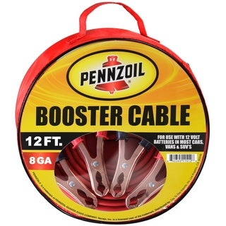 Pennzoil Jumper Cable 8 Gauge 12 Foot Heavy Duty Battery Booster