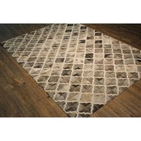 """Multi Grey Handwoven Hair-on Hide Leather Rug - 7'6"""" x 9'6"""""""