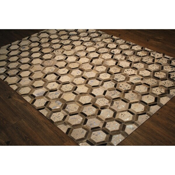 """Patchwork Pattern Silver Hair-on Hide Leather - 7'6"""" x 9'6"""""""