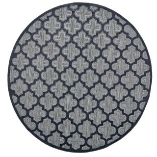 Grand Bazaar Marne Black/ Charcoal Wool Rug (7'-6 X 7'-6 Round) - 7' x 7'