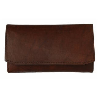 AFONiE The Timeless Leather Tri-fold Women Wallet (Option: Red)