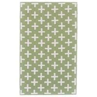Grand Bazaar Aubrey Green/ White Wool Rug - 8' x 10'