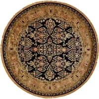 Grand Bazaar Bower Collection Traditional Oriental Hand-tufted Black/Gold Wool/Cotton Round Rug - 8' x 8'