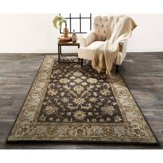 Grand Bazaar Botticino Charcoal Wool Rug (10' X 10' Round) - 10' x 10' Round