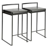 Fuji Contemporary Black Stackable Counter Stool (Set of 2)