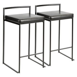 Fuji Contemporary Black Stackable Counter Stool (Set of 2) (Option: Green)