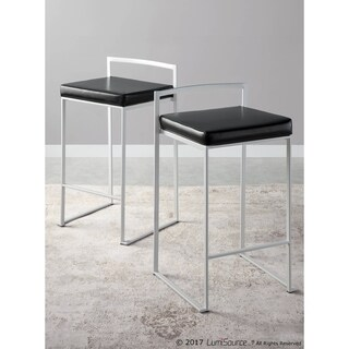 Fuji Contemporary White Stackable Counter Stool (Set of 2)