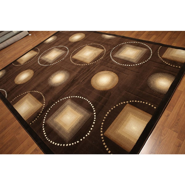 Tan/Beige/Brown Modern Abstract Hand-carved-look Indonesian High-density Machine-made Rug (9' x 12') - Multi-color