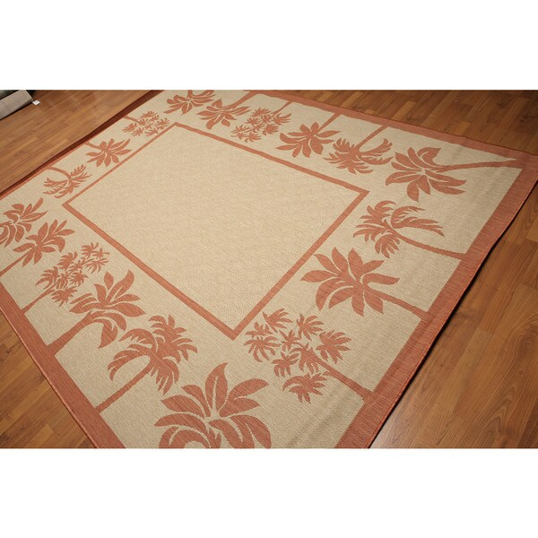 Beige Rust Outdoor Coastal Turkish Dhurrie Area Rug Multi Color