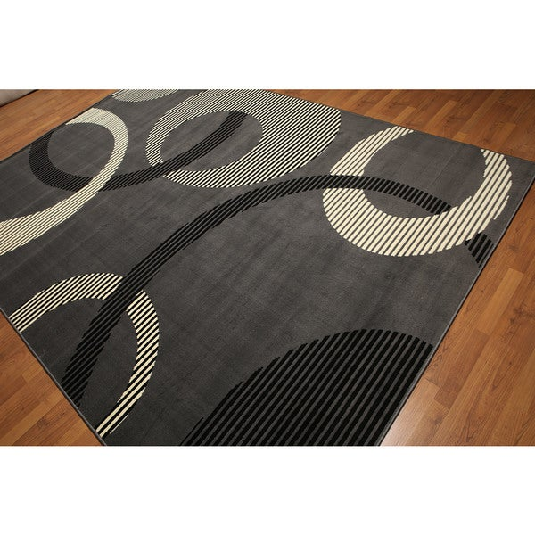 Multicolred Contemporary Modern High-density Hand-carved-effect Indonesian Rug - 8' x 11'