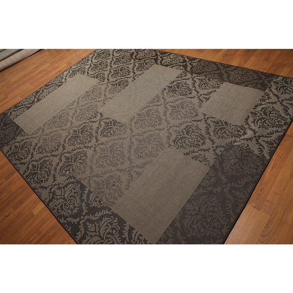 Damask Boho Shabby Chic Contemporary Indoor/Outdoor Turkish Dhurry Rug - 8' x 10'
