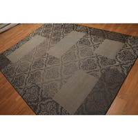 Damask Boho Shabby Chic Contemporary Indoor/Outdoor Turkish Dhurry Rug - Multi-color