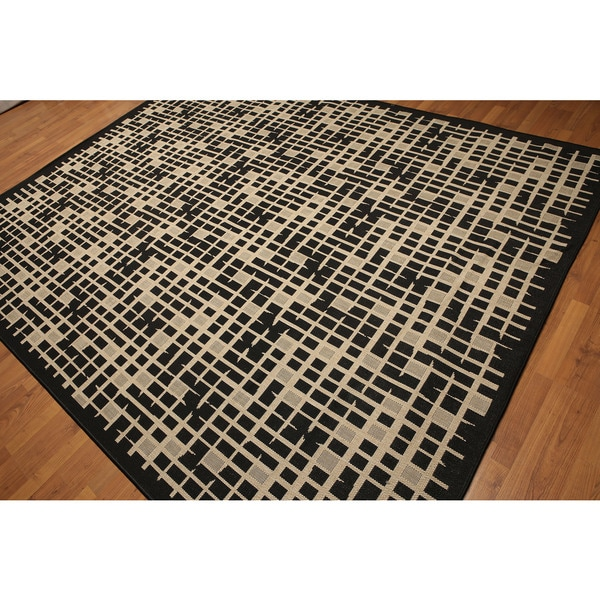Turkish Dhurry Black/Beige Contemporary Industrial Chic Indoor/Outdoor Rug - Multi-color