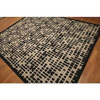 Turkish Dhurry Black/Beige Contemporary Industrial Chic Indoor/Outdoor Rug - 8' x 10'