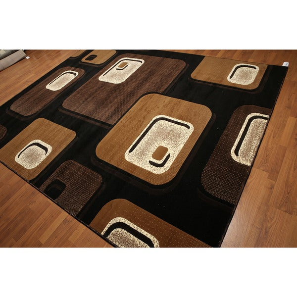 Modern Abstract Indonesian Multicolor High-density Hand-carved Effect Area Rug (9' x 12')