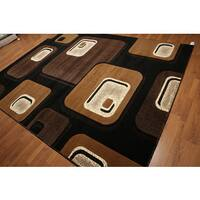 Modern Abstract Indonesian Multicolor High-density Hand-carved Effect Area Rug (9' x 12') - Multi-color