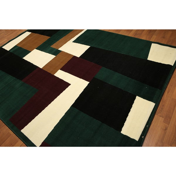 Black/Green/Burgundy High-density Hand-carved-effect Modern Indonesian Rug (9' x 12') - Green/Black - 9' x 12'