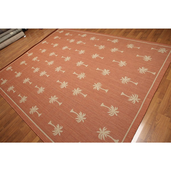 Beige/Rust Palm Tree Pattern Indoor/Outdoor Turkish Dhurry Rug (8' x 10')