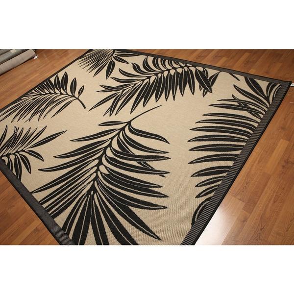 Tropical Turkish Dhurry Black/Beige Outdoor Rug - 8' x 10'