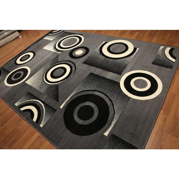 Black/Grey/Ivory Modern Indonesian High-density Hand-carved-effect Rug (8' x 11')