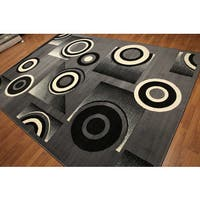 Black/Grey/Ivory Modern Indonesian High-density Hand-carved-effect Rug - 8' x 11'