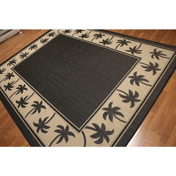 Tropical Tree Border Turkish Dhurry Black/Beige Outdoor Rug - Multi-color